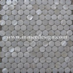 Chinese river shell mosaic--circle shape white color